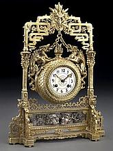French gilt bronze japonisme style clock