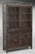 Chinese carved teakwood cabinet