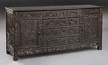 Chinese carved teakwood sideboard,