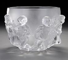 Lalique France crystal figural center bowl,