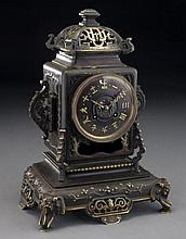 French gilt bronze japonisme clock with elephants