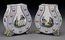 Pr. HB Quimper horseshoe form vases