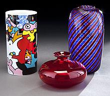 (3) Art glass vases including: