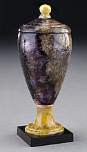 A Blue John covered urn,