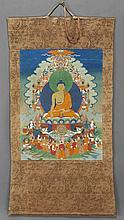 Chinese-Tibetan Qing polychrome painted thangka