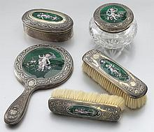 5pc. Gorham silver and Limoges enamel dressing set