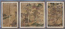(3) Framed Chinese panels depicting 7 paintings