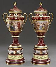 Pr. Royal Vienna style porcelain covered urns,