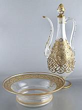 2 pcs. Beykoz glass ewer and basin,