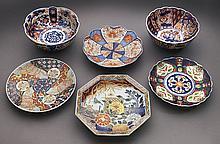 6 Pcs. Japanese Imari porcelain inclu.: