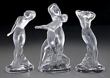 (3) Lalique France crystal dancer figural groups.