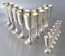 14 Pcs. American sterling silver stemware