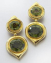Zolotas 22K gold and grossularite garnet earrings,