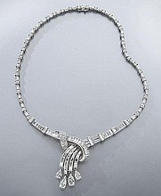 Retro platinum and diamond cascade necklace