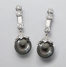 Platinum, diamond and Tahitian pearl drop earrings