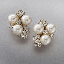 Pr. 14K gold, pearl and diamond earrings