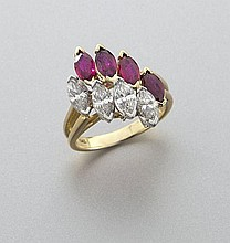 Retro Hammerman Bros. plat., diamond and ruby ring