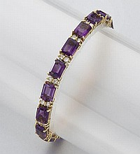 18K gold, diamond and amethyst bracelet