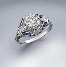 Edwardian 18K gold, diamond and sapphire ring
