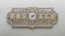 Edwardian 18K gold and diamond brooch,