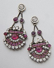 Art Deco gold, ruby and diamond earrings