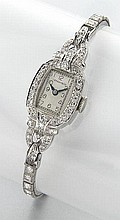 Tiffany and Co. Art Deco plat. and diamond watch