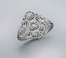 Edwardian platinum and diamond ring