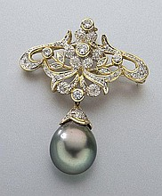 Art Nouveau 18K, diamond and Tahitian pearl brooch