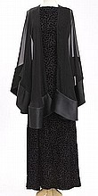 Oscar de la Renta black evening gown and shawl,