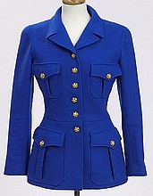 Chanel size 40 cobalt wool jacket