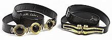 (2) Judith Leiber black snakeskin belts
