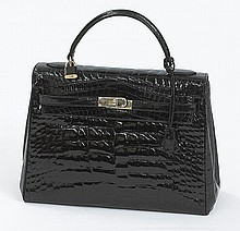 Bianchi e Nardi Kelly-style black alligator bag