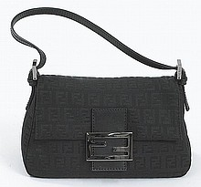 Fendi black monogram baguette