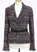 Chanel size 40 belted tweed jacket