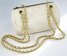 Vintage Chanel quilted white lambskin cylinder bag