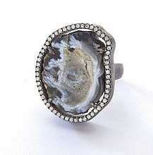 Sterling silver, diamond and agate ring,
