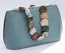 Judith Leiber turquoise lizard skin handbag