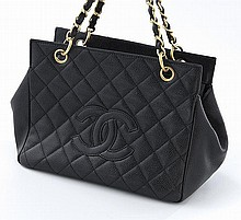 Chanel black quilted caviar Petite Timeless Tote