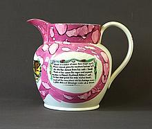 19th C English Sunderland Pink Lustre Jug. 'A West