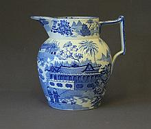 19th C English Blue & White Jug. Chinese pavillion