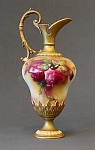 Royal Worcester Ewer Shaped Jug. Painted roses