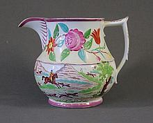 19th C English Pink Lustre Jug. Fox hunt scene.