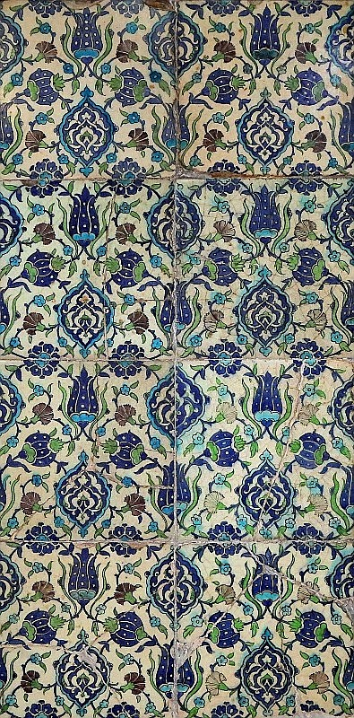 Circa 17th C Panel of 8 Damascus Tiles  112x57cm