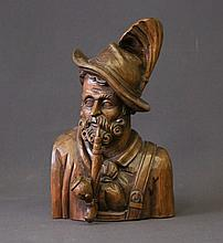 German Carved Wood Man with Pipe.  H30cm