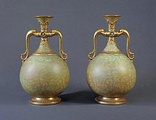 Pr Vict Royal Worcester Twin Handled Vases. Gilt