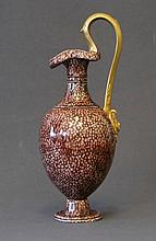 Wedgwood? Ewer Vase. Brown shagrene glaze with