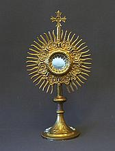 Brass Monstrance. Some tarnish to base.  H44cm