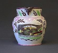19th C English Pink Lustre Jug. 'A West View of