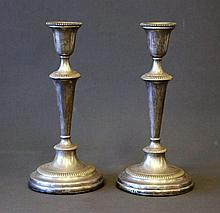 Pr Silver Plated Candle Sticks. Weighted bases.