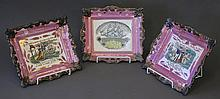 Set 3 19th C Pink Lustre Plaques. Incl. 'Peace &